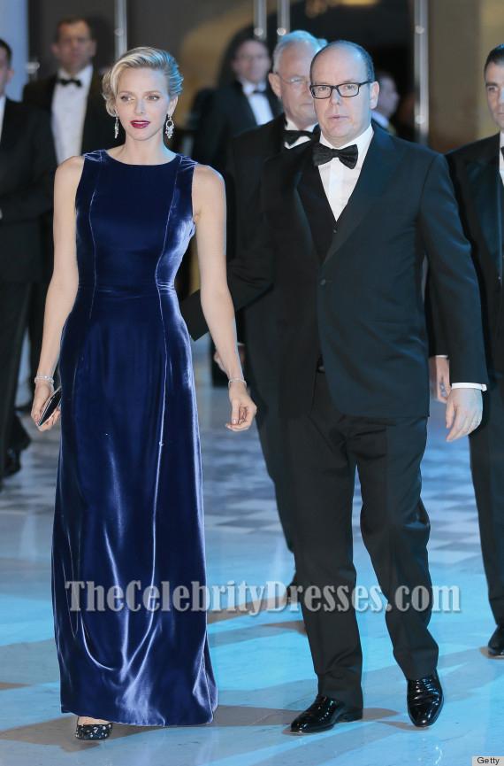 Princess Charlene Royal Blue Velvet Evening Dresses Monaa Charity