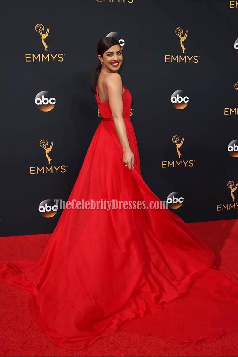 Priyanka Chopra Red One Shoulder Long Evening Prom Gown 2016 Emmy ...