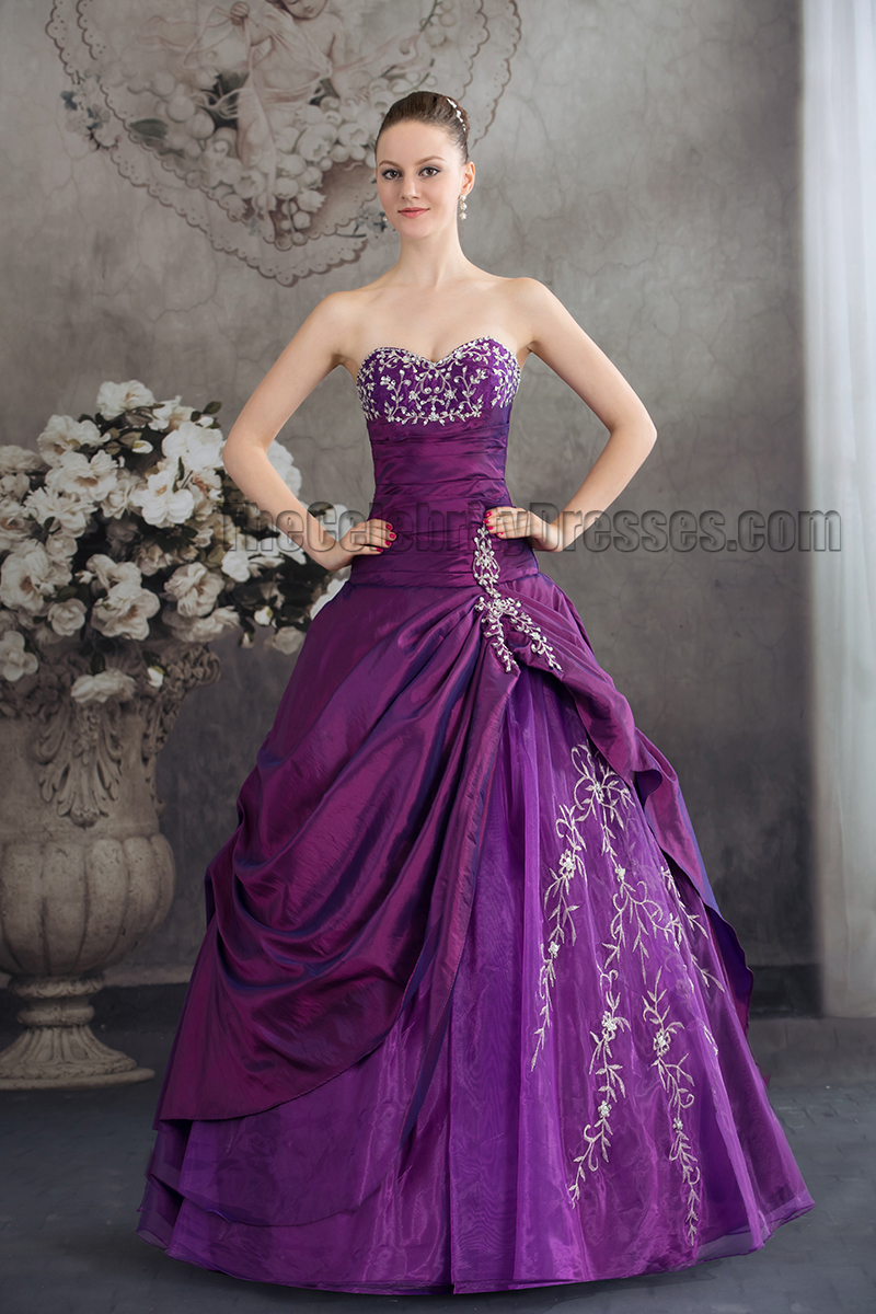 Purple Strapless A-Line Floor Length Formal Dress Evening Gown ...