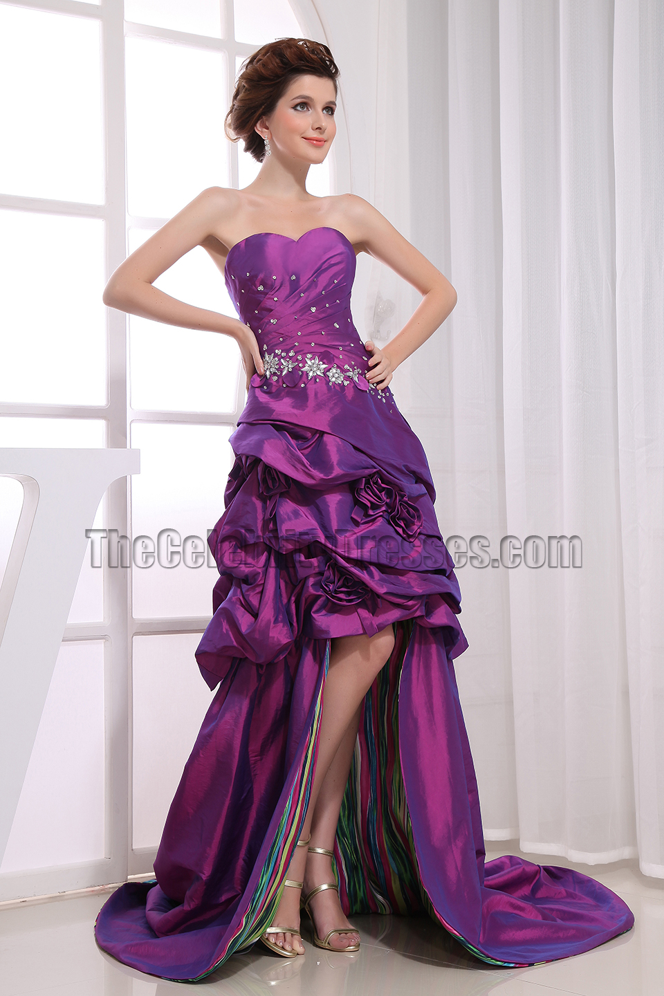 High Low Purple Strapless Prom Dress Formal Gown - TheCelebrityDresses