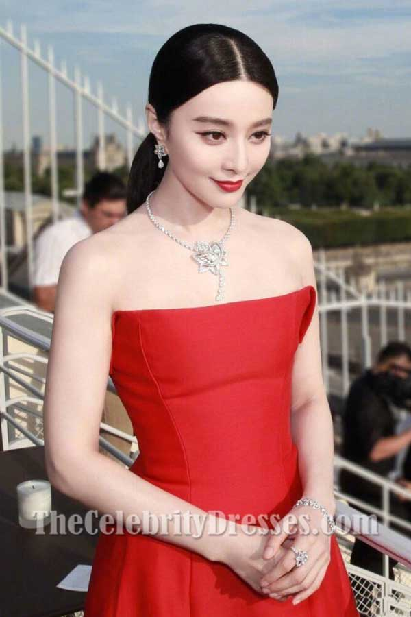 Fan Bingbing Red Strapless Evening Prom Dress De Beers 2017 - TheCelebrityDresses