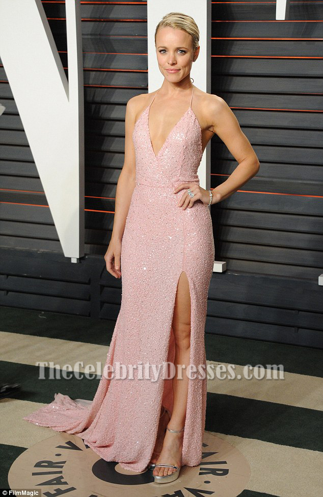 Rachel Mcadams Sexy Pink Sequined Evening Dress vanity fair oscars ...