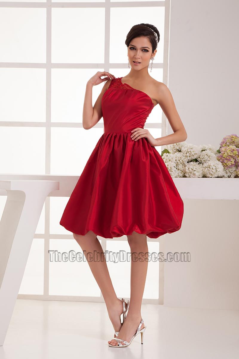 One Shoulder Red Knee Length Dress