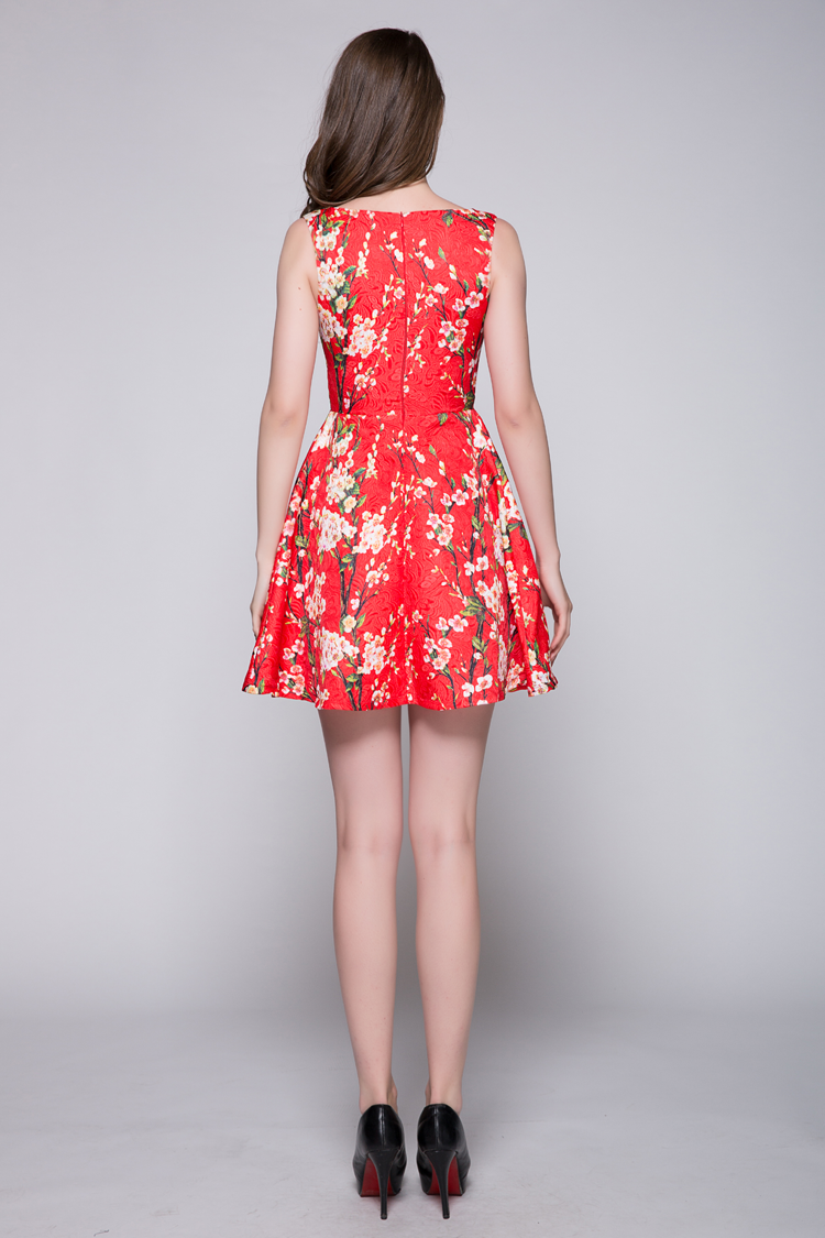 Red a line print sleeveless party cocktail dresses for Red line printing