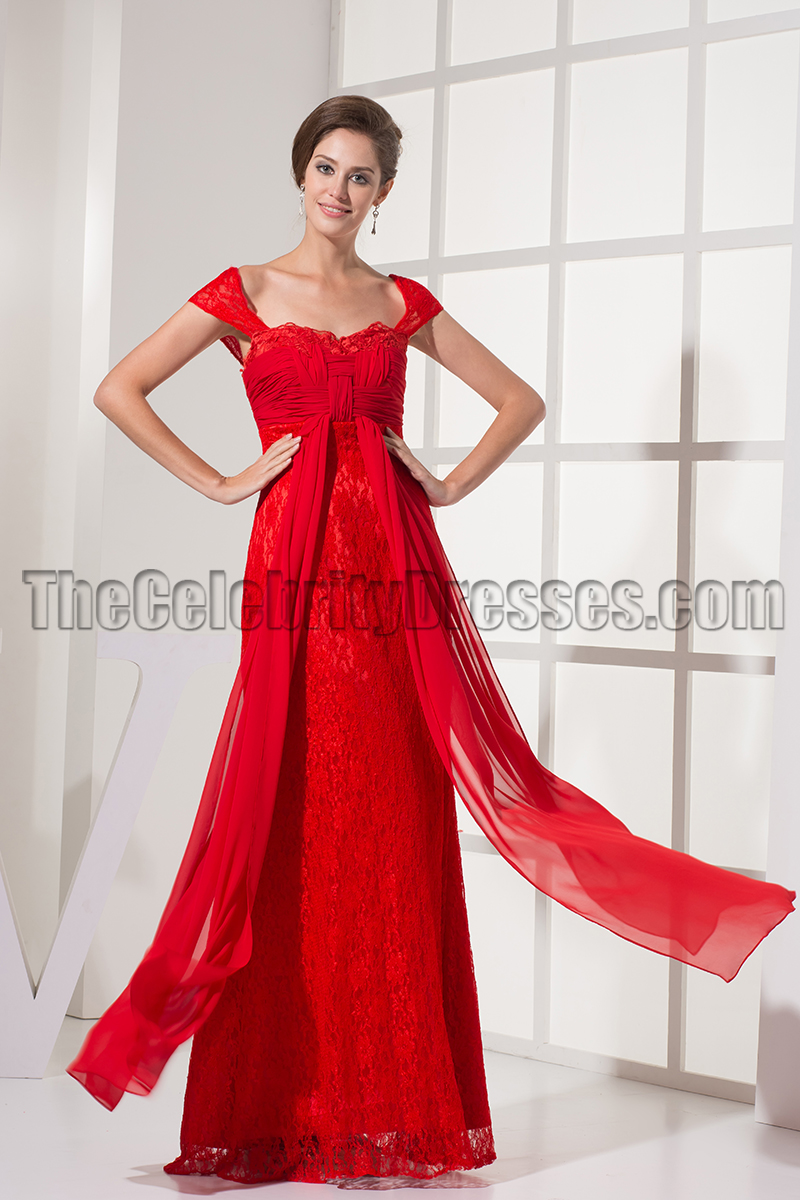Red Cap Sleeve Prom Gown Evening Formal Dresses - TheCelebrityDresses