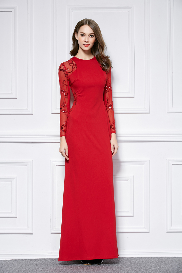 Red Floor Length Long Sleeve Evening Dress Prom Gown ...
