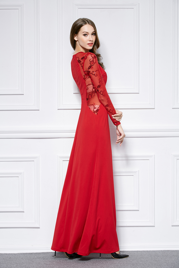 763669b944 Red Floor Length Long Sleeve Evening Dress Prom Gown - TheCelebrityDresses