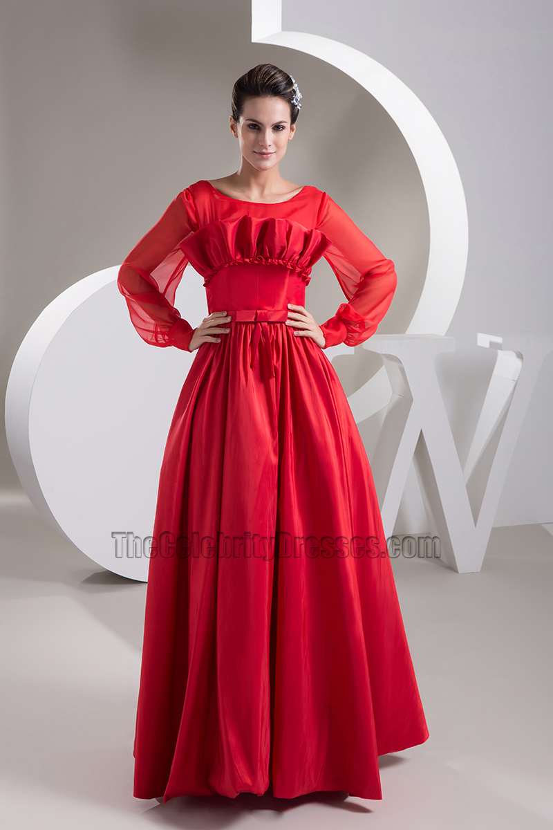 Red Long Sleeve A-Line Prom Gown Evening Formal Dress ...