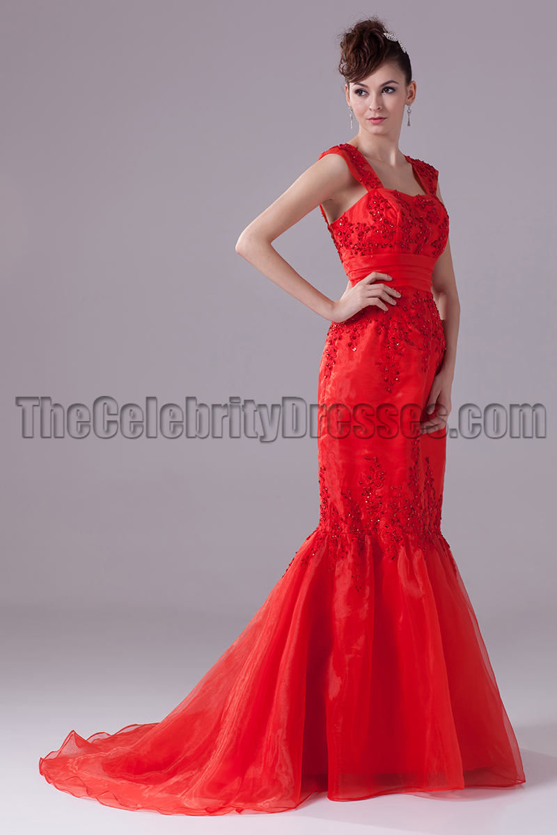 Red Mermaid Embroidery Formal Dress Prom Evening Gown ...