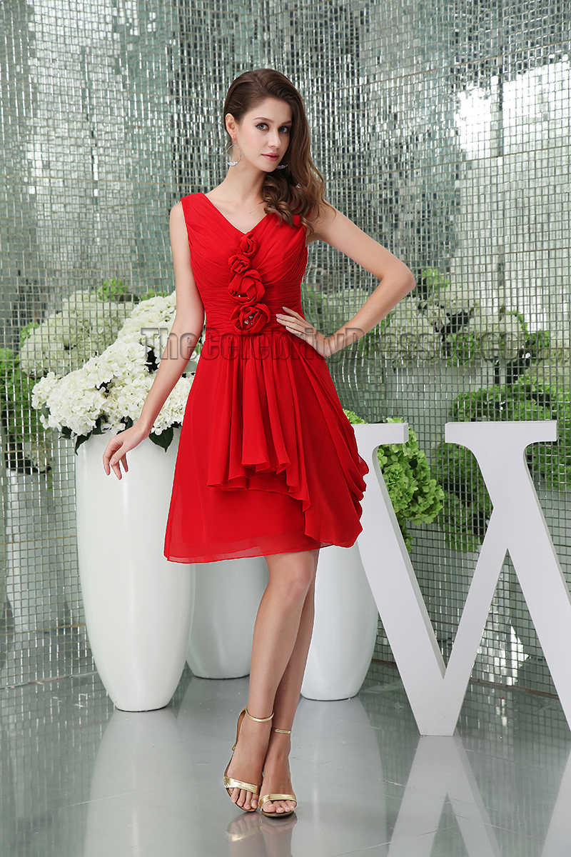 Red Short V-Neck Graduation Cocktail Dresses With Flowers ...
