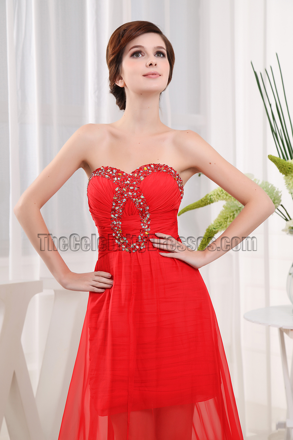 Red Strapless Beaded Prom Gown Evening Formal Dresses - TheCelebrityDresses