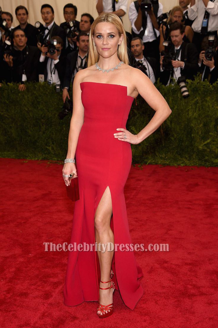 Reese Witherspoon Red Strapless Formal Evening Dresses 2015 MET ...