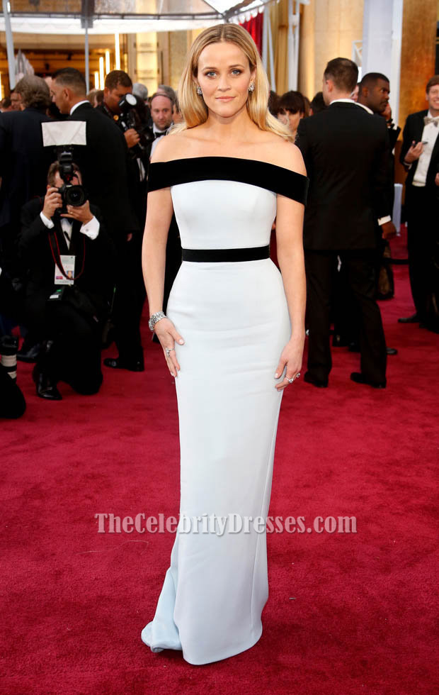 Reese witherspoon white and black formal dress oscars 2015 red carpet thecelebritydresses - Black and white red carpet dresses ...