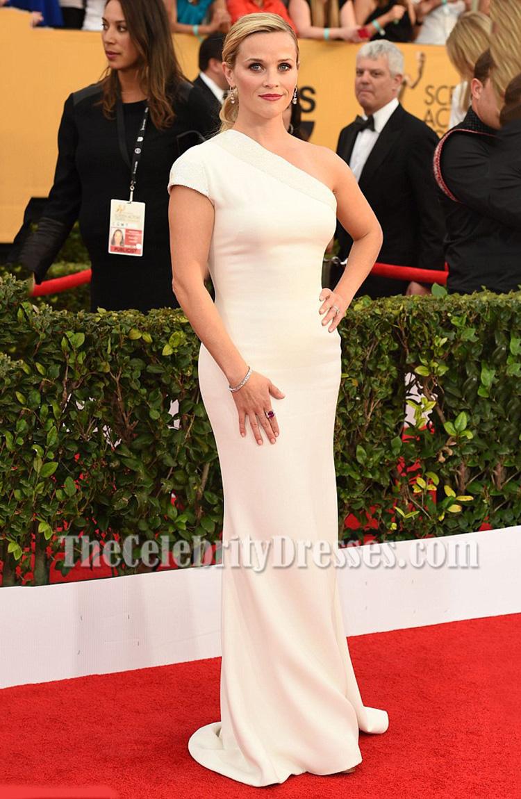 Reese Witherspoon Weiß Ein-Schulter-Abend-Abschlussball-Kleid 21st ...