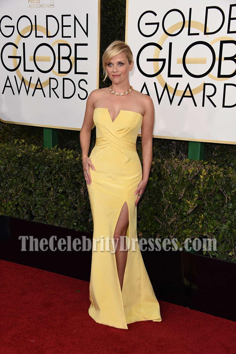 Reese Witherspoon Gelbe trägerlose Rüsche Schlitz Abend Abendkleid ...