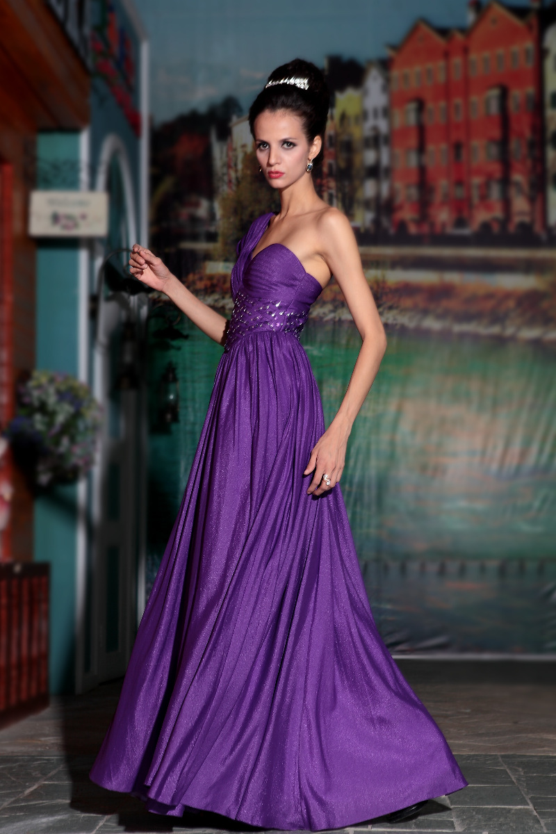 Tulle-Overlay Embroidered Long Prom Dress - PromGirl