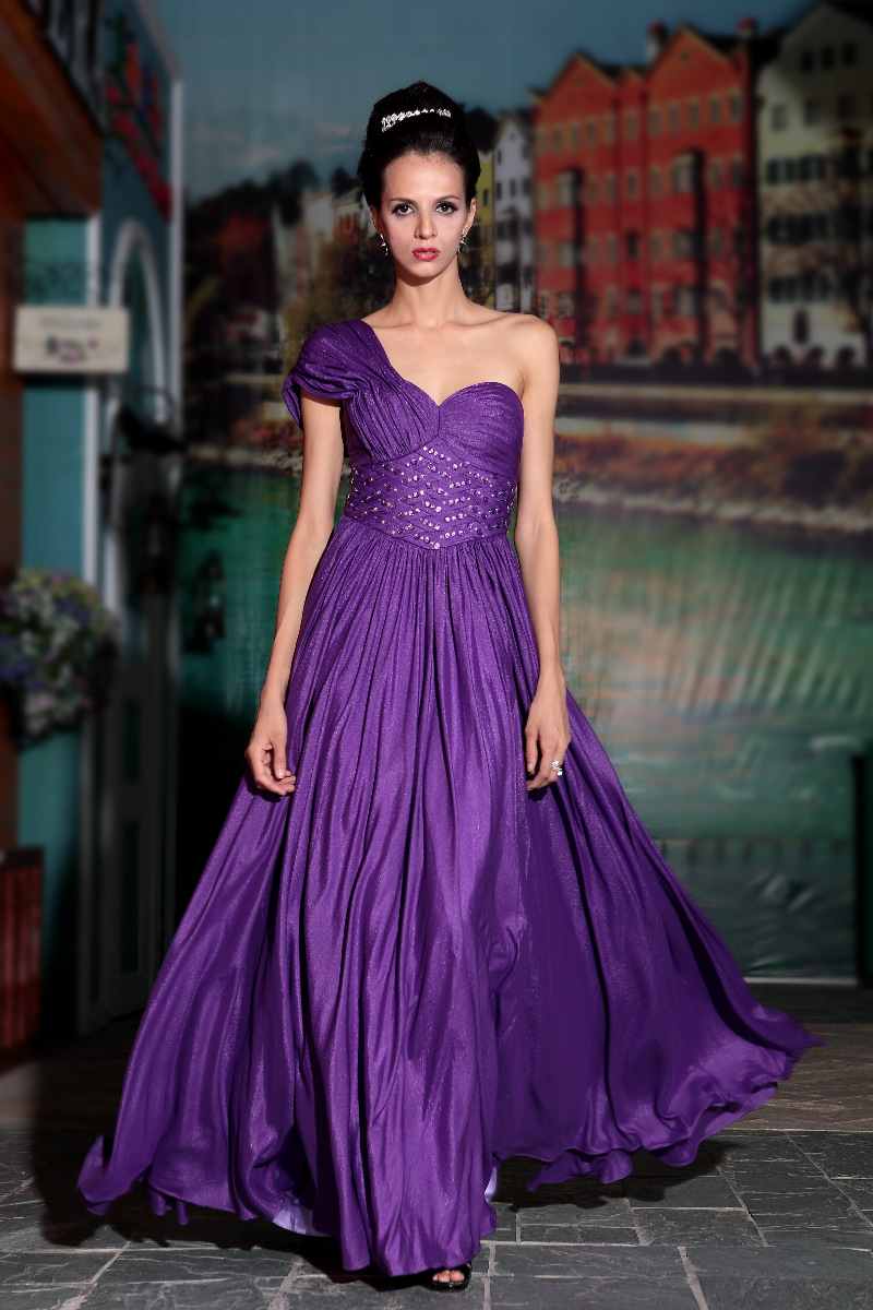 Purple One Shoulder Prom Dress