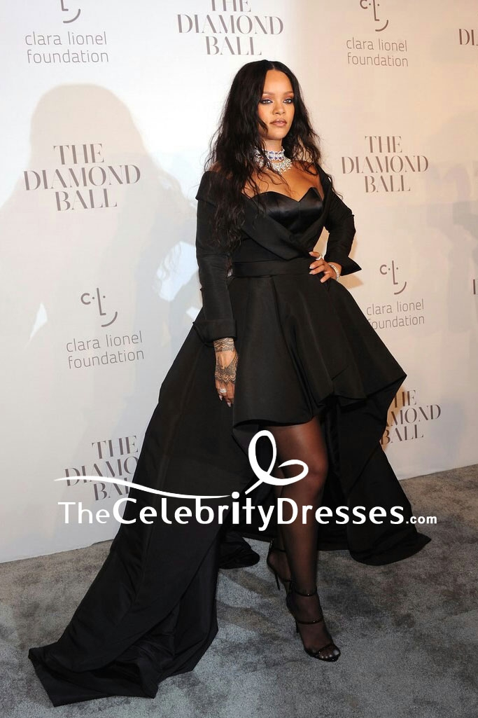 Rihanna Black Strapless High Low Ball Gown 3rd Annual Clara Lionel Foundation Diamond Ball Thecelebritydresses