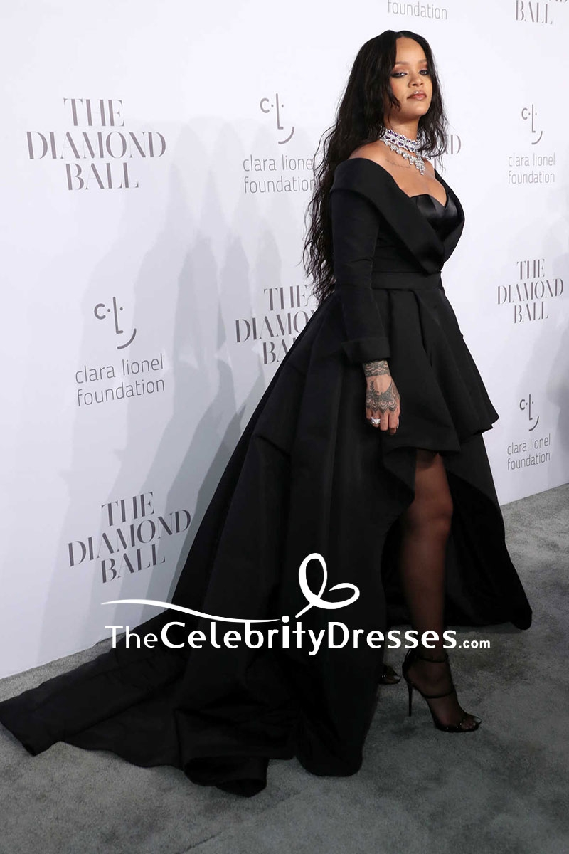 Rihanna Black Strapless High Low Ball Gown 3rd Annual Clara Lionel ...