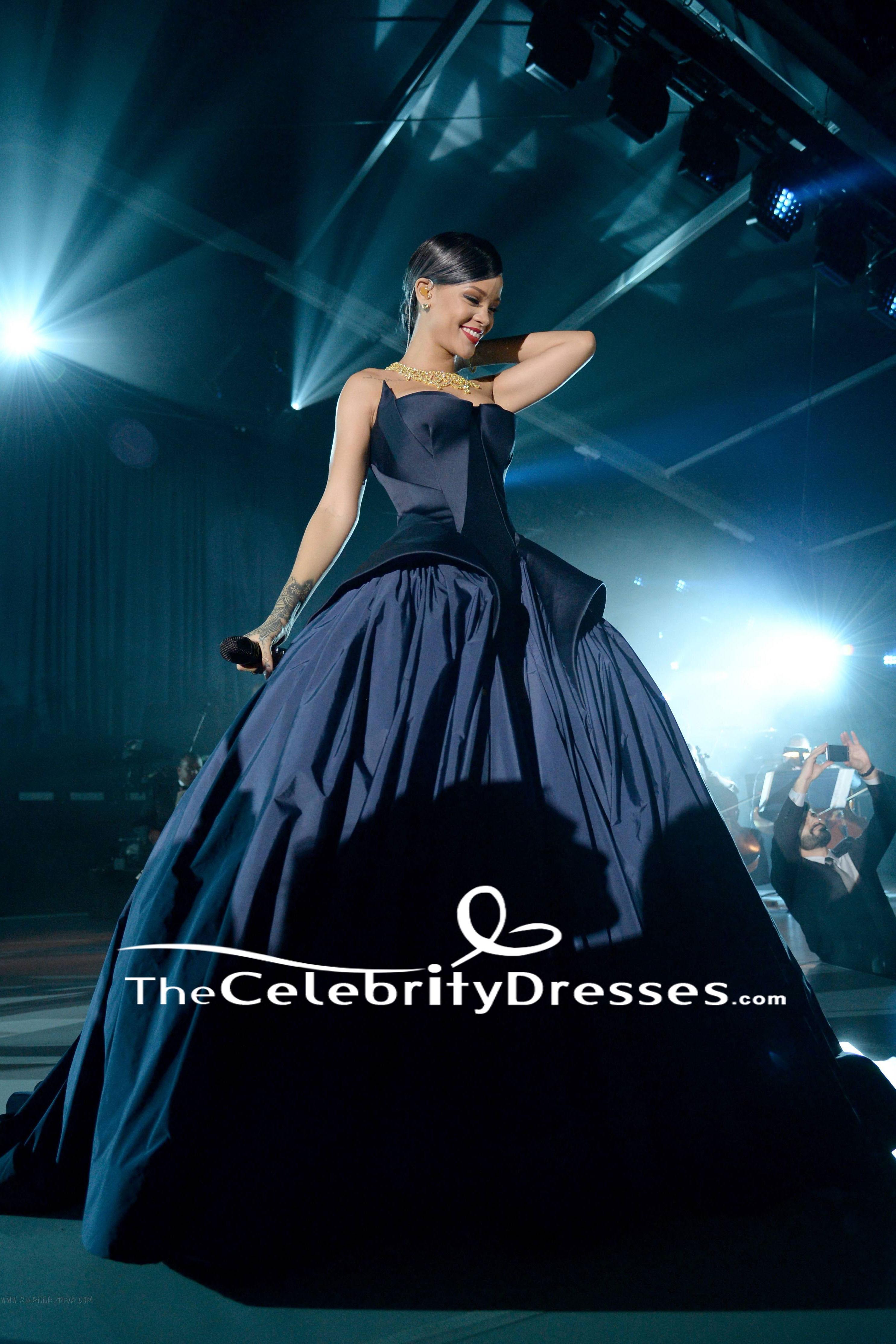 Rihanna Dark Navy Strapless Ball Gown 2014 Diamond Ball ...