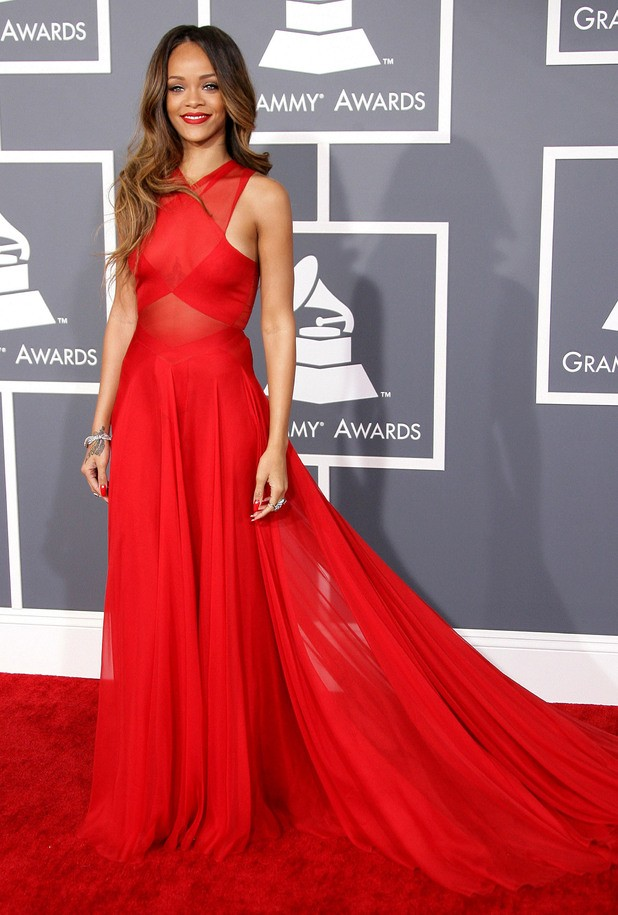 Rihanna Red Prom Dress Grammys
