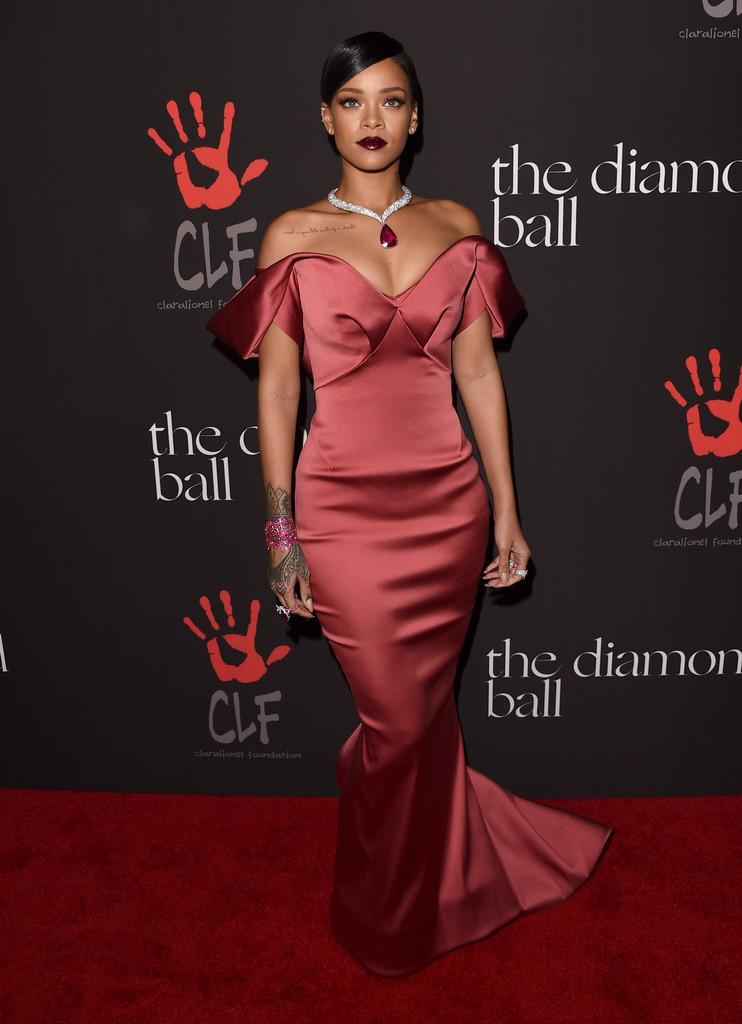 Rihanna Red Formal Dress Rihanna S 1st Annual Diamond Ball