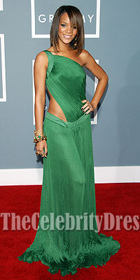 rihanna sexy green cut out prom gown formal evening