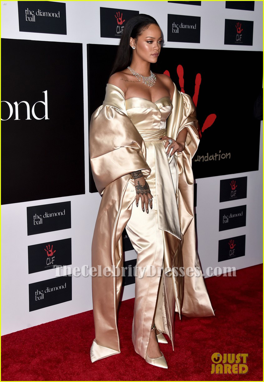 Rihanna Strapless Formal Dress Diamond Ball 2015 Red Carpet Gown ...