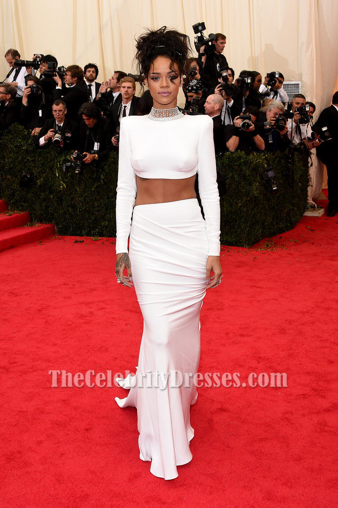 Rihanna White Evening Dress 2014 Met Gala Red Carpet ...