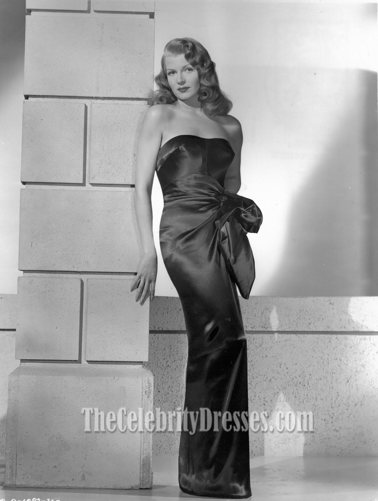 rita hayworth black strapless evening dress prom gown in