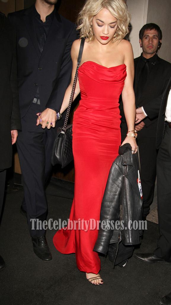 Rita Ora Red Strapless Prom Dress Evening Gown Nobu in London ...