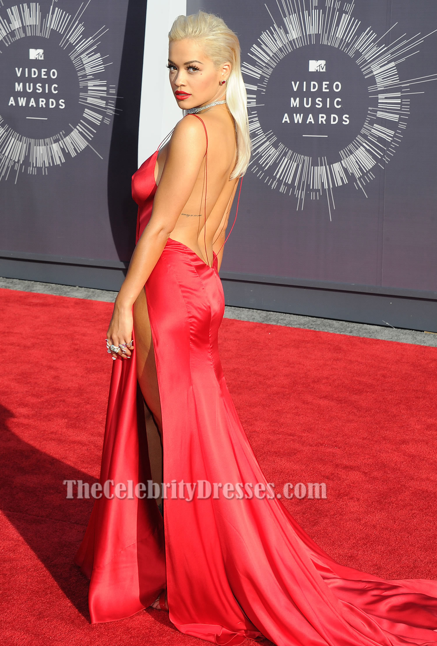 Rita ora sexy red backless evening dress vmas 2014 red carpet thecelebritydresses - Dresses from the red carpet ...