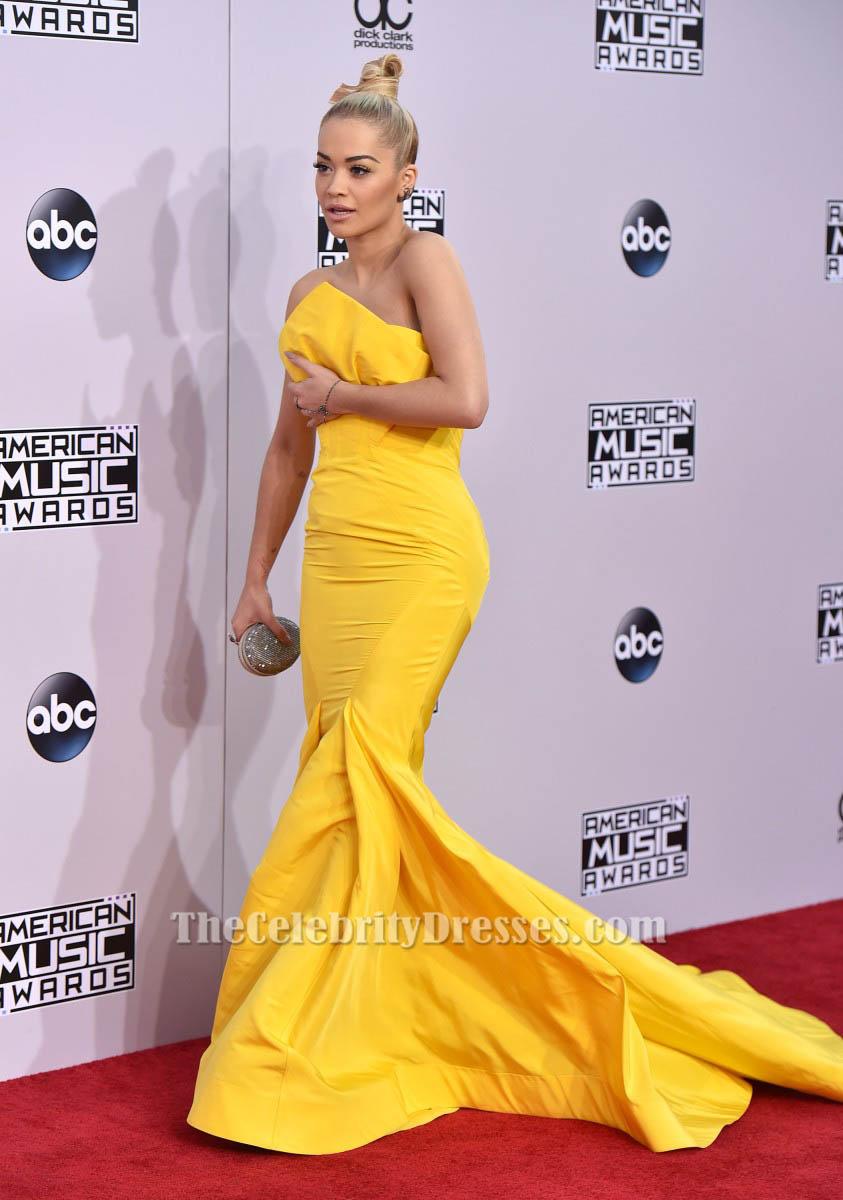 Yellow Mermaid Prom Dresses 2014 Rita Ora Yellow Mermai...