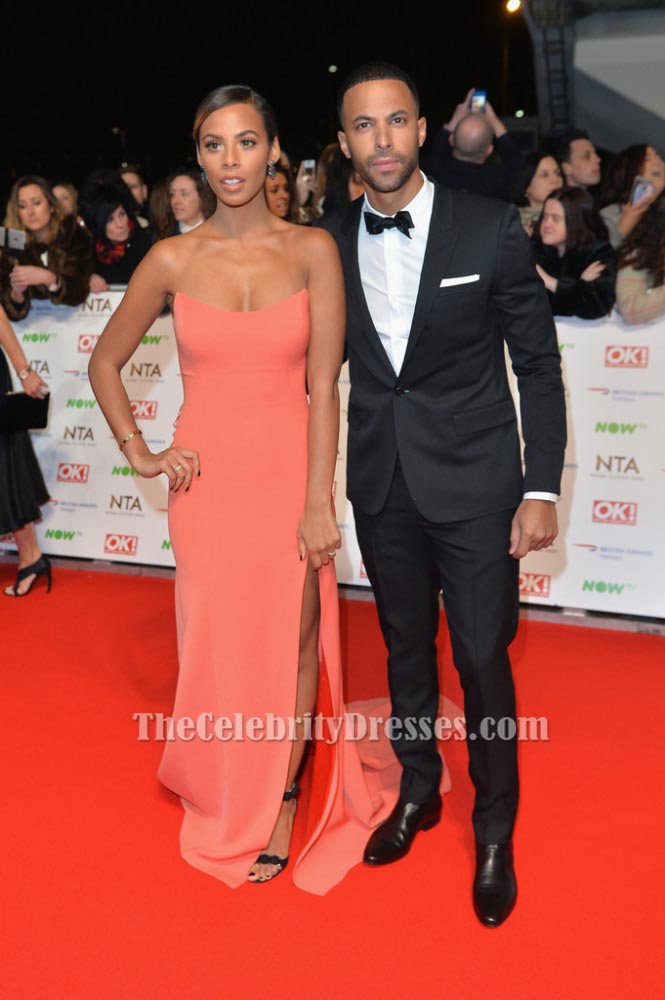 Rochelle Humes Strapless Formal Dress National Television Awards Red