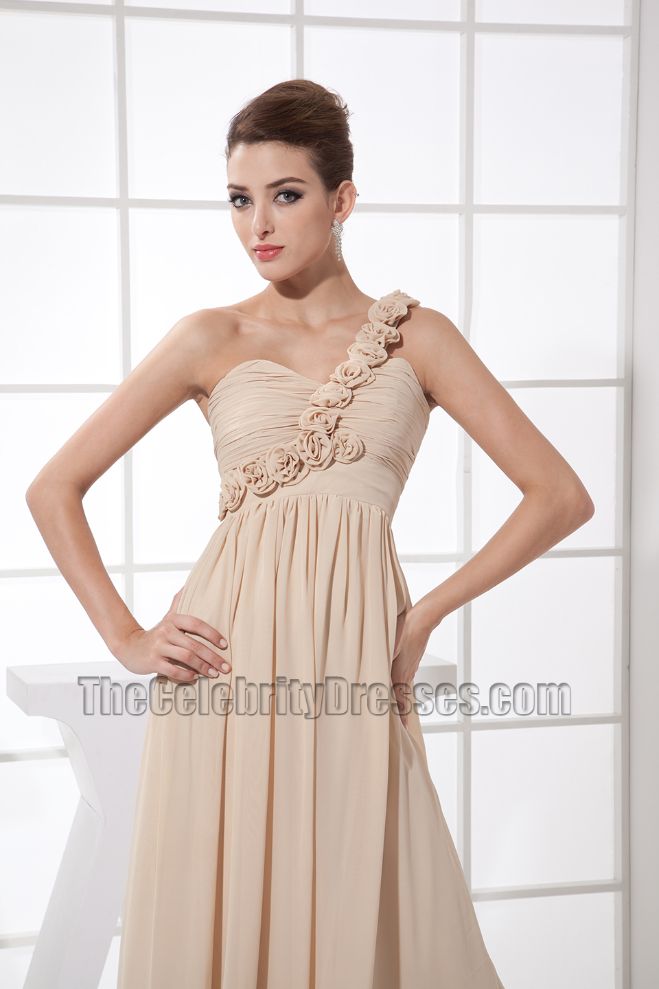 Romantic champagne one shoulder prom dress bridesmaid dresses romantic champagne one shoulder prom dress bridesmaid dresses thecelebritydresses ombrellifo Choice Image