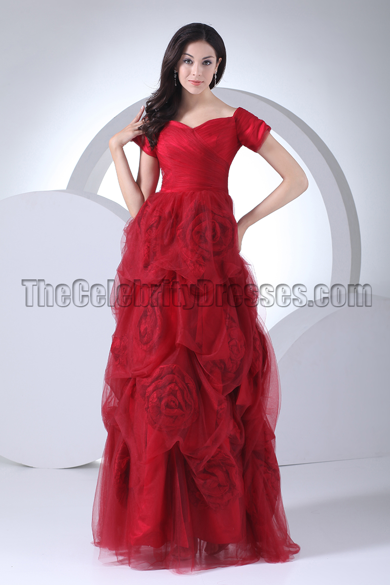 Romantic Red Formal Gown Evening Dresses With Rose Flowers ...