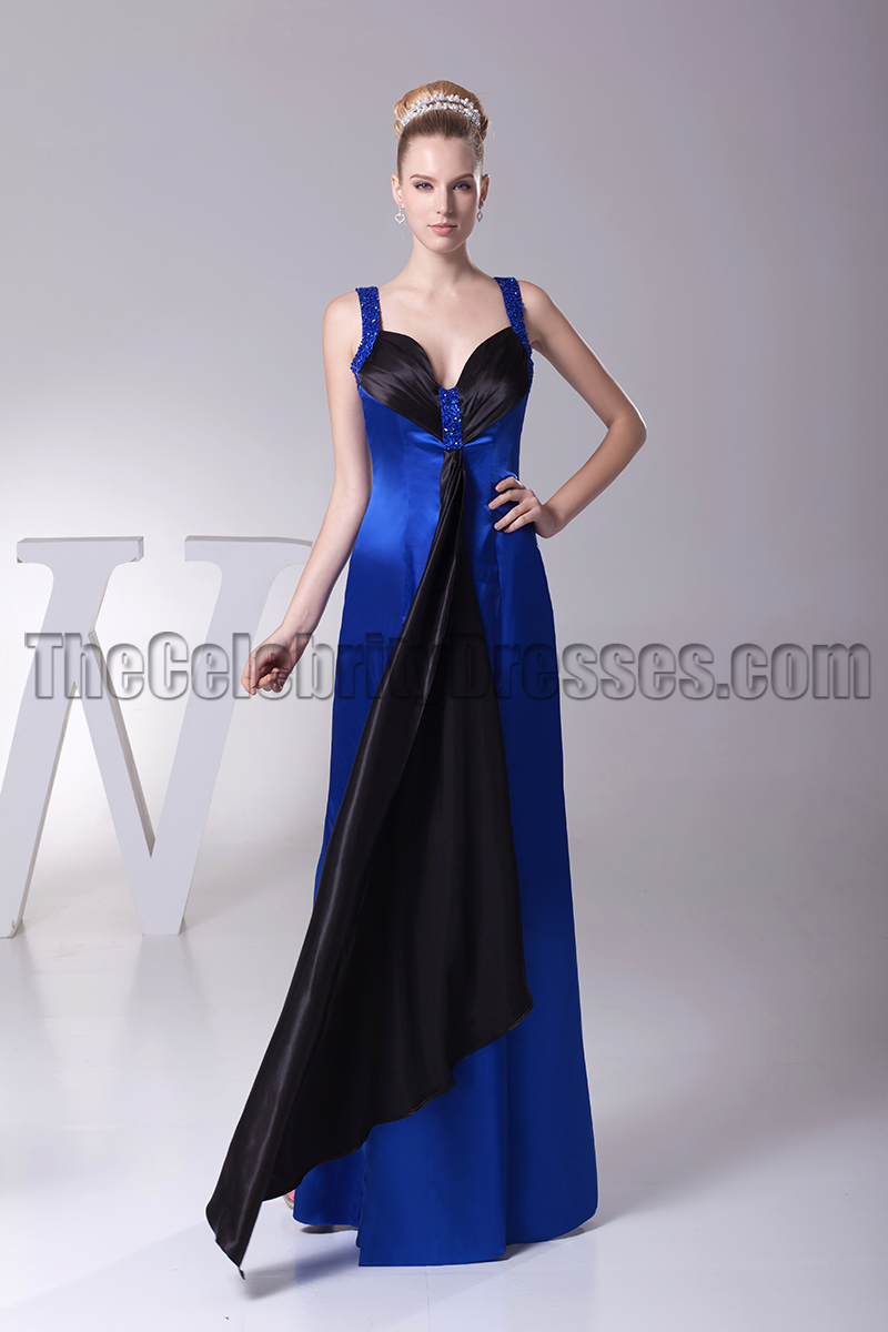 Royal Blue And Black Evening Gown Prom Dress - TheCelebrityDresses