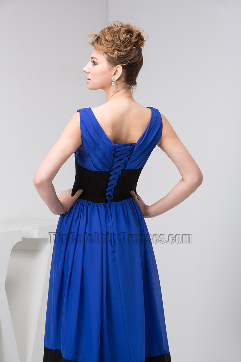 Royal Blue And Black V Neck Prom Gown Evening Dresses