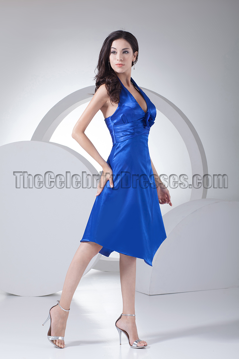 79dac690945f Discount Royal Blue Halter Cocktail Bridesmaid Dresses - TheCelebrityDresses