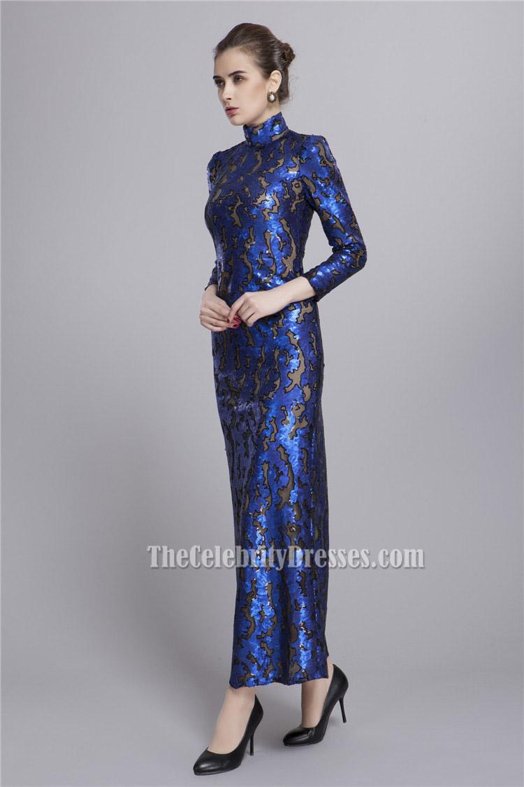 Royal Blue High Neckline Long Sleeve Evening Formal Dresses ...
