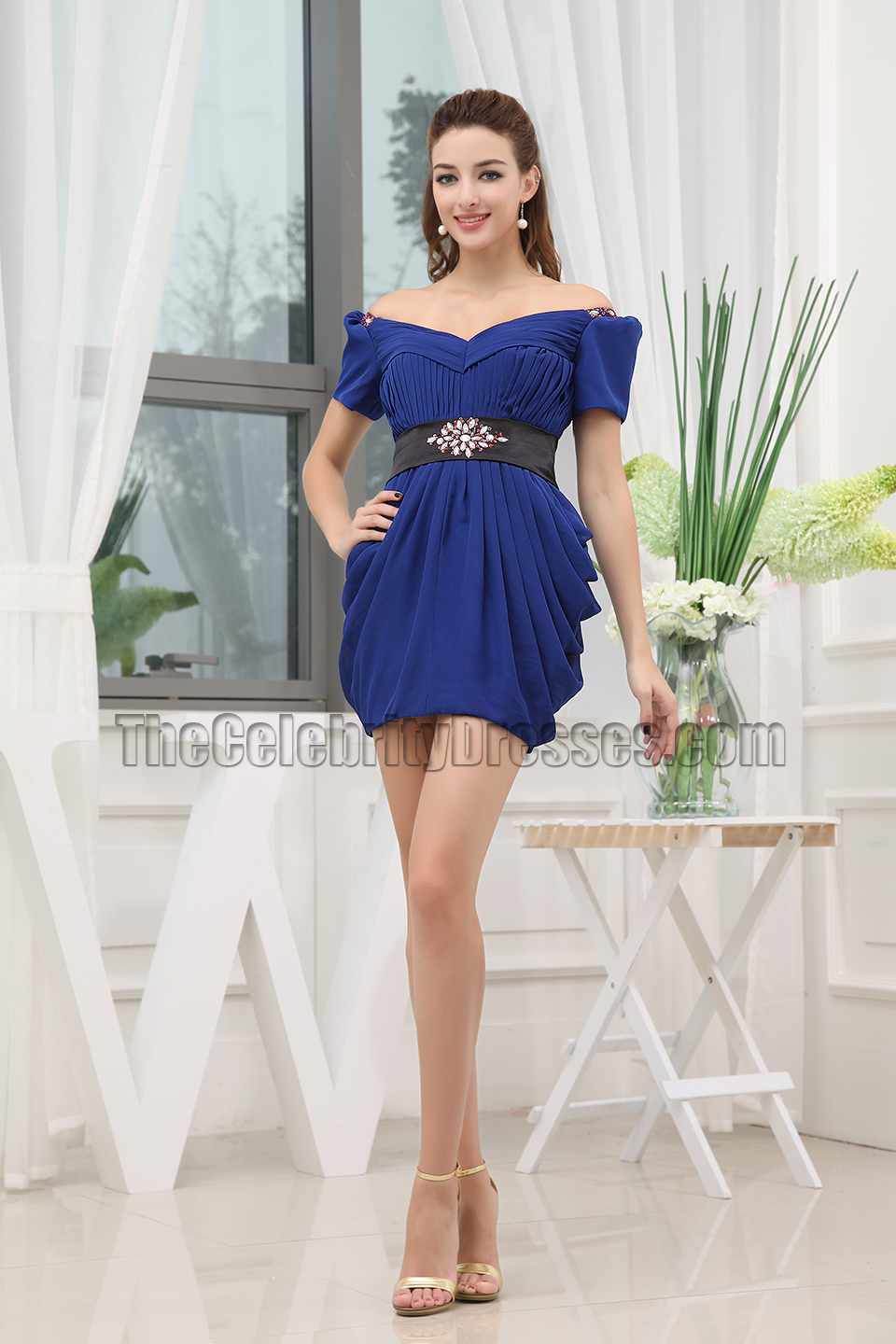 2aeaa2dce676 Royal Blue Mini Off-the-Shoulder Party Homecoming Dresses ...