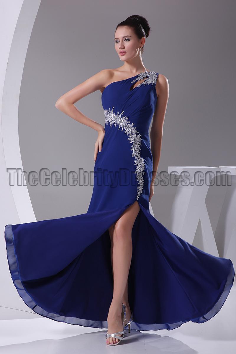 Royal Blue One Shoulder Evening Dresses Formal Gown ...