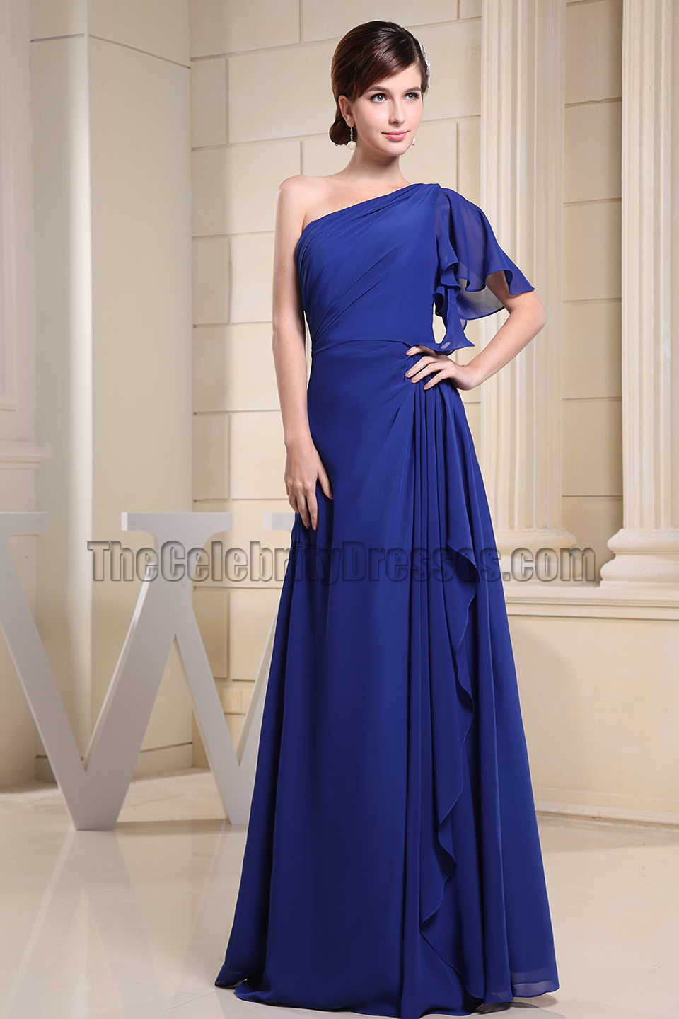 Discount Royal Blue One Shoulder Prom Dress Evening Dresses ...