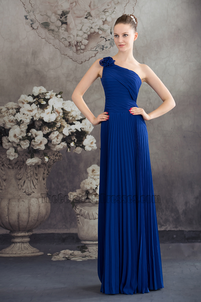 Royal Blue One Shoulder Prom Gown Evening Bridesmaid Dresses ...