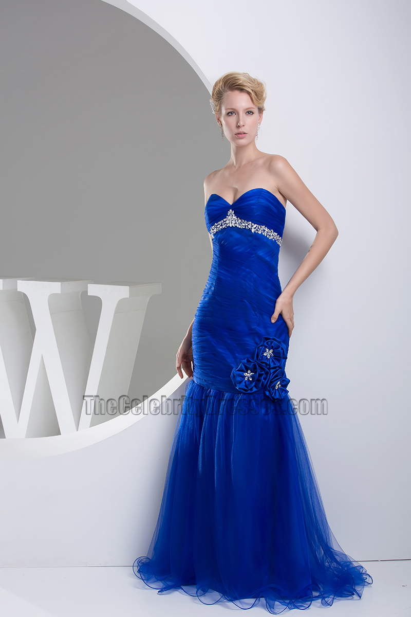 Royal Blue Tulle Mermaid Strapless Formal Dress Evening Gown ...