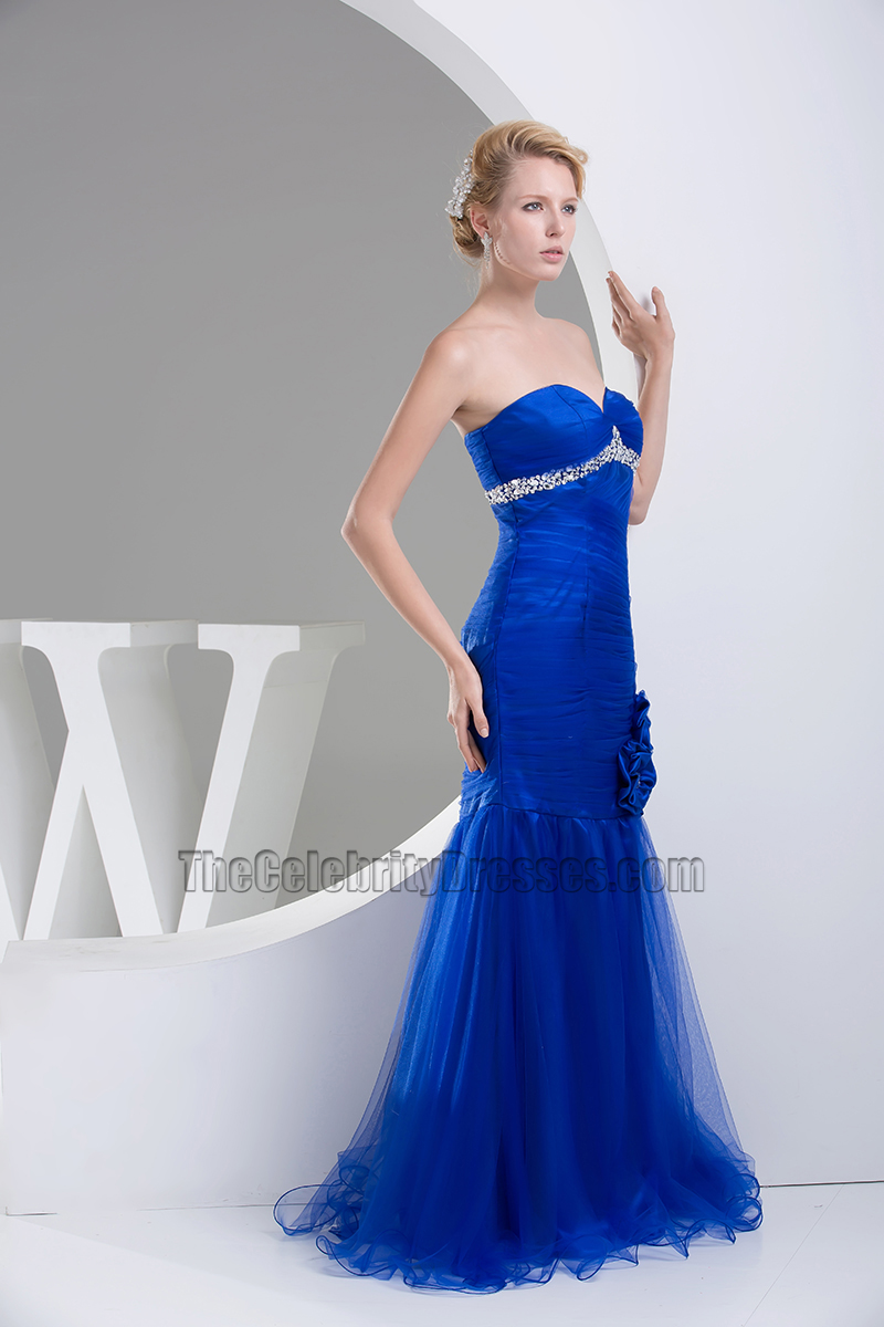 Royal Blue Tulle Mermaid Strapless Formal Dress Evening