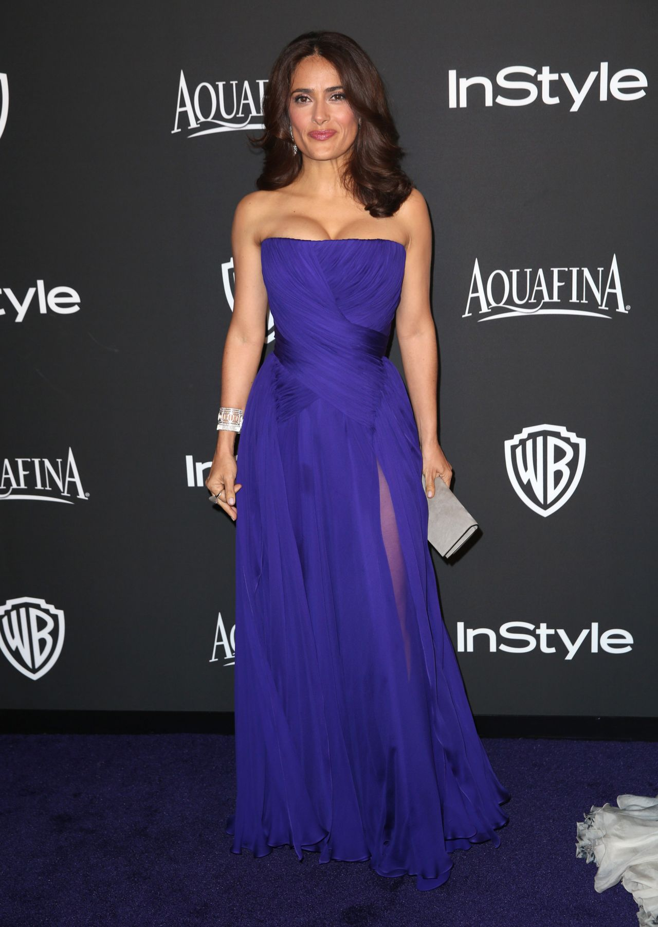 Salma Hayek Royal Blue Evening Gown 2017 Instyle And Warner Bros Golden Globe Awards Post Party Thecelebritydresses