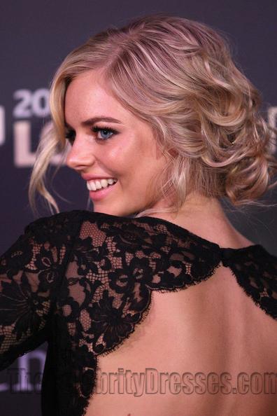 Samara Weaving Black Lace Evening Dress Logie Awards 2012