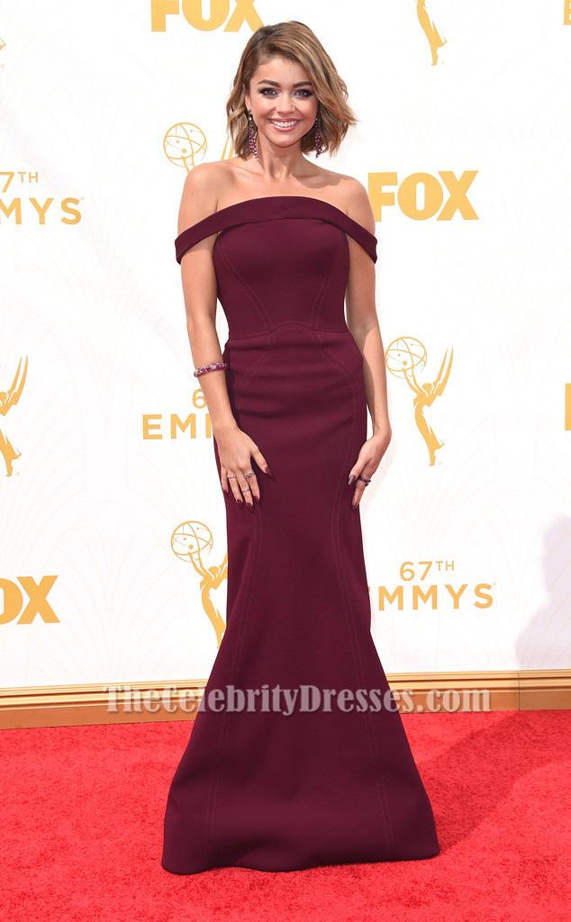 Sarah Hyland Burgundy Off The Shoulder Formal Dress 2015