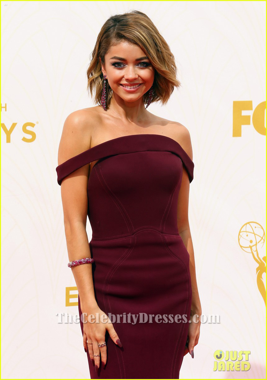 Sarah Hyland Burgundy Off-the-Shoulder Formal Dress 2015 ...